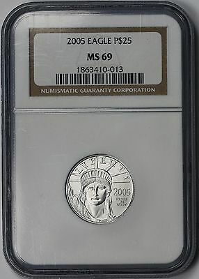 2005 Platinum Eagle $25 Quarter-Ounce MS 69 NGC 1/4 oz Platinum .9995