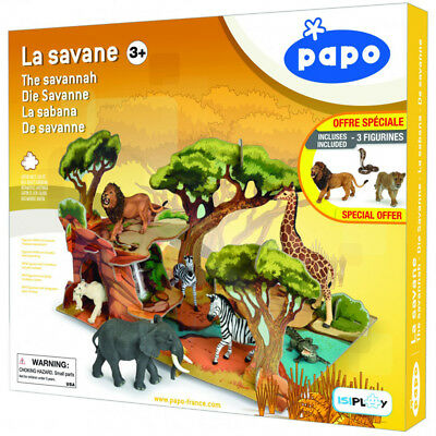 PAPO Wild Animal Kingdom The Savannah Playset & 3 Figures - 80007 - NEW