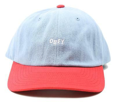 486bc28d737 Obey Wardlow 6 Panel Snapback Hat Denim Red Size One Size New