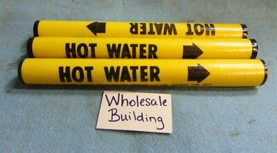 "Seton Pipe Marker Vinyl Snap Around Hi 1-3, 3/4"" To 7/8"" Hot Water *lot Of 3*"