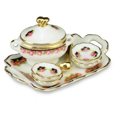 Bowls and Spoons A2581 Dollhouse Miniature Chowder Soup Set with Tureen