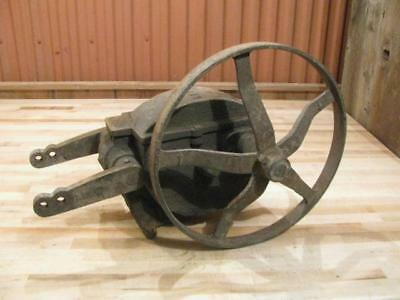 "Antique Water Well Windmill Heller Aller Pump Jack With 16"" Cast Iron Pulley"
