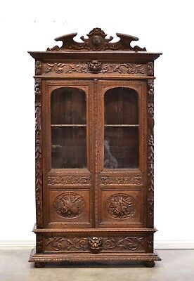 French Antique Carved Oak Hunt Two Door Bookcase