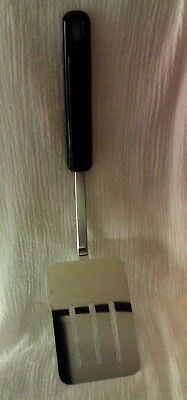 "EKCO Slotted Spatula Turner Flipper Black Nylon Plastic Handle 11.5"" Chromium"