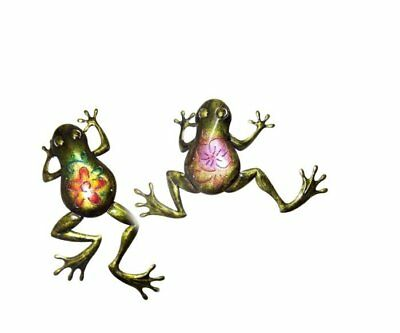 Set of 2 Decorative Metal Wall Frogs with Colorful Intricate Designs