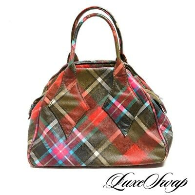 098b3ade48 ICONIC Vivienne Westwood Made in Italy Rainbow Tartan Plaid Leather PUNK Bag  NR
