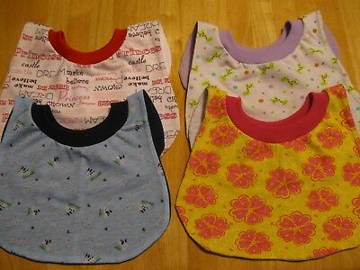 "4 Toddler Bibs 12"" neck Pull Over Head T-Shirt special needs drool cotton blend"