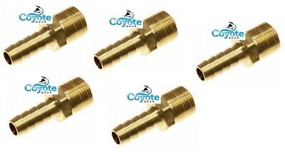 "5 Pack 1/8 NPT Male Threads x 1/4"" Hose Barb Brass Straight Fitting Coyote Gear"