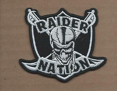 New 3 X 3 3/8 Inch Oakland Raiders Nation Iron On Patch Free Shipping