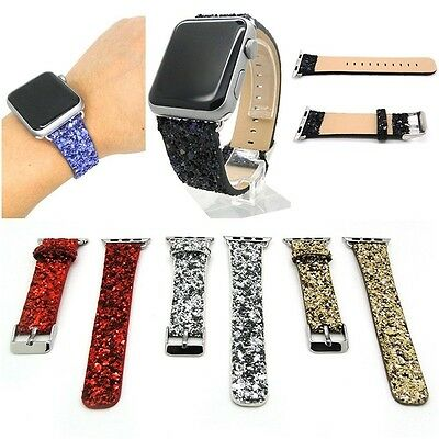 Xmas Bling Genuine Leather Watch Band Strap + Adapter For All Apple Watch  #s