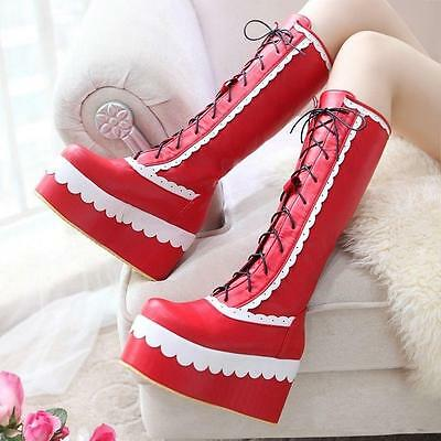 Goth Womens Boots Cosplay Lace Up High Platform Creeper Knee High Punk Boot