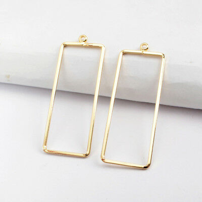 30Pcs Gold Plated Brass Rectangle Frame Hoop Charm Findings Jewelry DIY BPJ124