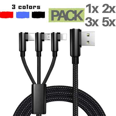Elbow Braided Charger Lightning Micro USB C Fast Charging Cable iOS Samsung