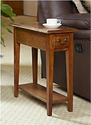 Chair Side End Table Wood Oak Finish Storage Drawer Bottom Shelf Small Furniture
