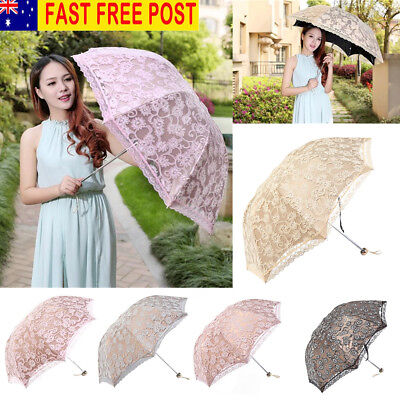 Women Parasol Lace Floral Folding Umbrella Girls Outdoor Anti UV Sun Protection