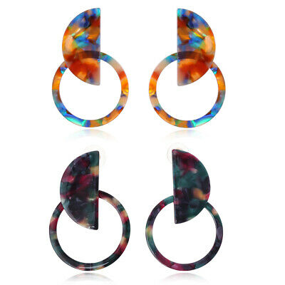 Mottled Circle Hoop Acrylic Resin Statement Stud Earrings Women Fashion Jewelry