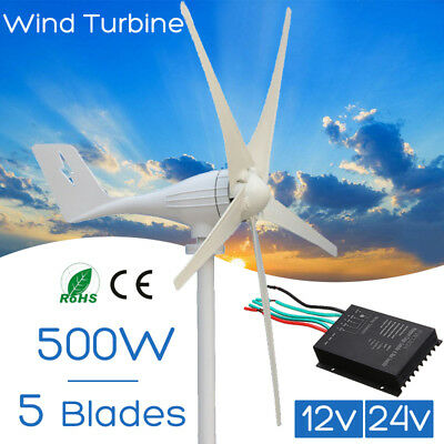 AU STOCK 12V/24V 500W Power Wind Turbine Controller Generator Charging 5 Blades