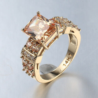 Multi Genuine Honey Morganite Gems Champagne Gold Plated Silver Ring Size 6-10