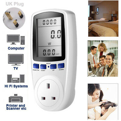 UK Plug-In Electricity Watt Meter Analyzer Monitor shows Energy Use Voltage Amps