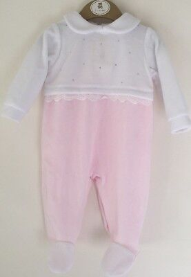 d8456a30c4df MINTINI BABY PINK And White 3 Month   62 Cms Velour Babygrow ...
