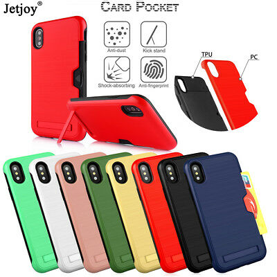 Armor Stand Cover For Apple iPhone XS Max/XR/X Rugged Shockproof Card Slot Case