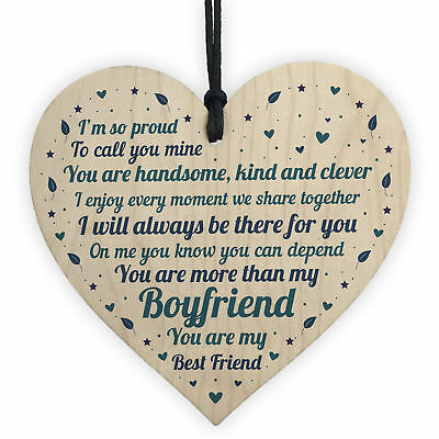 Boyfriend Relationship Gifts Wooden Heart Anniversary Valentines Gift For Him