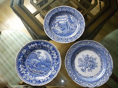 """SPODE BLUE ROOM COLLECTION 3 10"""" Plates WOODMAN BYRON GROUPS Traditions MILKMAID"""