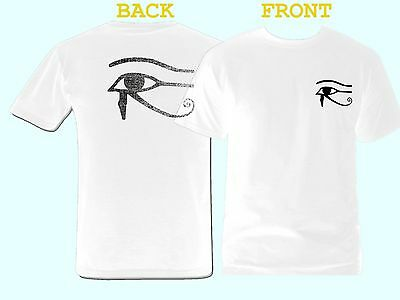 Ancient Egypt Wadjet Eye of Ra Horus front & back print distressed white t-shirt