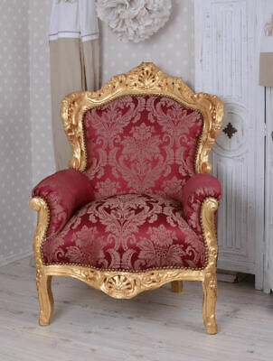 Armchair Baroque Chaise RED rococo solid wood Lounge