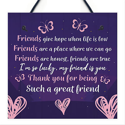 Personalised Best Friend Friendship Plaque Sign Thank You Birthday Gift Present