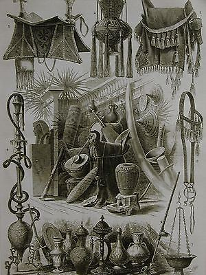 Centennial EGYPT EGYPTIAN Pottery Drums Fabrics & More 1876 Antique Print Matted