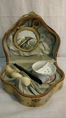 Antique Victorian Ladies Shaving Kit Straight Razor Mug Mirror Brush Set in Box