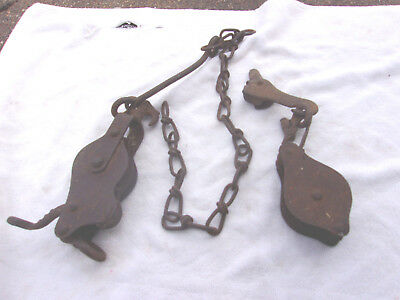 2 Lot Old Rusty Farm Pulleys Unusual Plant Hanger Holder Chain Plus LOOK