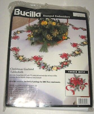 """Bucilla Christmas Garland Tablecloth Stamped Embroidery 60"""" x 104"""" #83965 NEW"""
