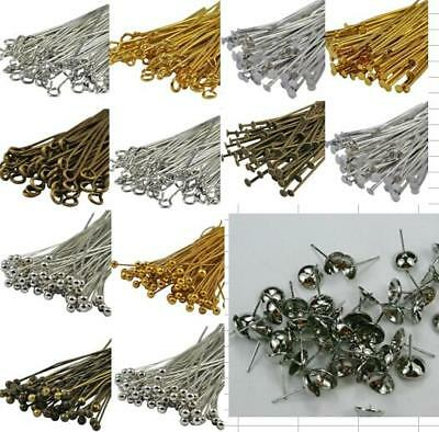 clearance-200 copper pins gold silver steel copper bronze eye head 20mm to 60mm