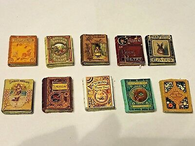 Set Of 10 Victorian Leather  Books For A 1/12 Scale Dolls House