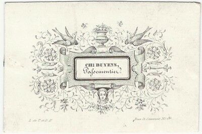 Handsome 1850s Lithographed Business Card @ French Lace/Trimmings Maker
