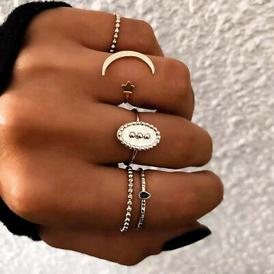 5pcs/Set Fashion Women Bohemian Moon Stars Shape Open Finger Rings Jewelry