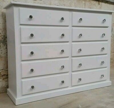 Handmade Dewsbury White 10 Drawer Large Storage Chest Crystal Knobs Assembled