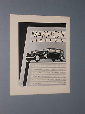 1931 Marmon Sixteen Four Door Sedan Auto Ad Machine Age Style Art + Bonus Ad