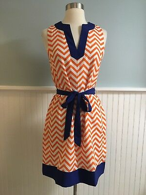 Size Small Mud Pie Orange Navy White Chevron Football Game Day Dress NWT  Mudpie 3c801d3cc