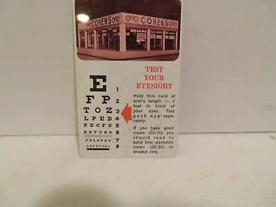 VINTAGE  Snellen Mini Pocket Eye Chart Plastic Eye Vision Test COHEN'S NYC 1970