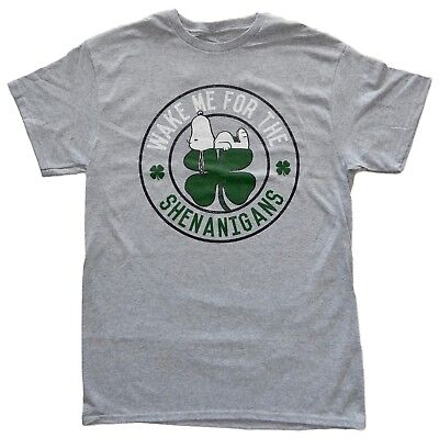 Peanuts Snoopy ST Patricks Day Wake Me Adult Men's Grey T-Shirt Paddy's Day Tee