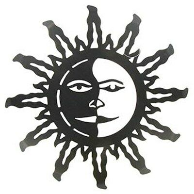 Dark Bronze Metal Sun Face Wall Decor, Garden