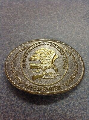 FREE SHIPPING!! VINTAGE METAL/ BRASS BELT BUCKLE- North American Hunting Club