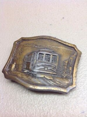 FREE SHIPPING!! VINTAGE METAL/ BRASS BELT BUCKLE San Francisco Trolley Cable Car