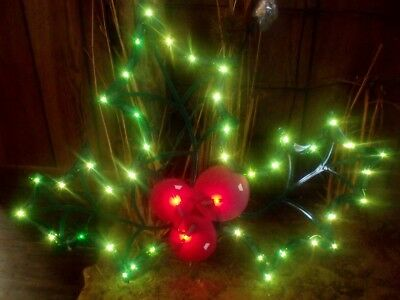 Christmas Outdoor Lighted Holly Leaf Berry Sign Window Yard Light Decoration 22""