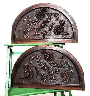 Pair half round scroll leaves panel Antique french carved wood salvaged paneling