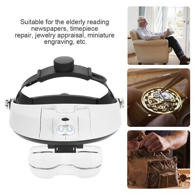 Headband Magnifier Magnifying Glass Loupe Glasses with LED Lamp for Watch Repair