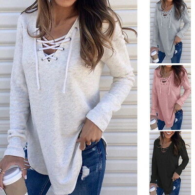 Womens Casual V-Neck Blouse Sweater Lace-up Long Sleeve Tops Pullover
